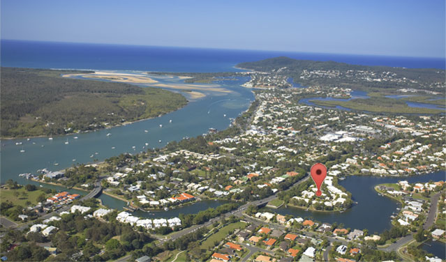 Aerial photo of Noosa Entrance indicating the location of the resort